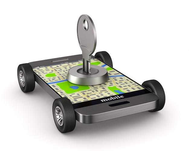 Nawigacja w telefonie. transport bezpieczeństwa. izolowana ilustracja 3d