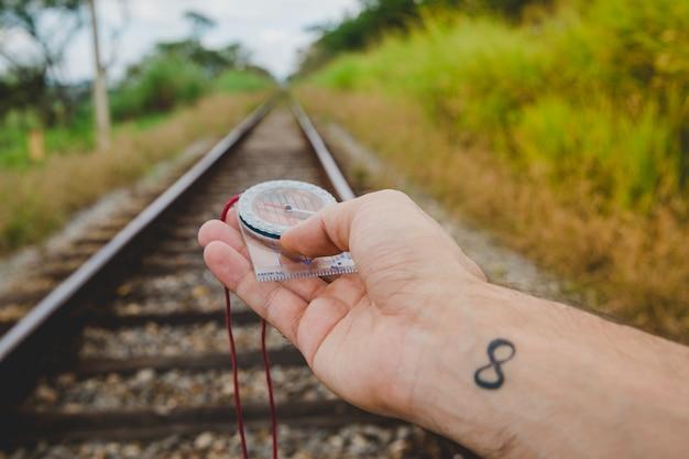 Nawigacja z kompasem na torach kolejowych
