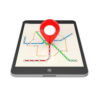 Nawigacja za pomocą komputera typu tablet. wskaźnik lokalizacji na komputerze typu tablet z streszczenie transport metra lub mapa metra na białym tle. renderowanie 3d