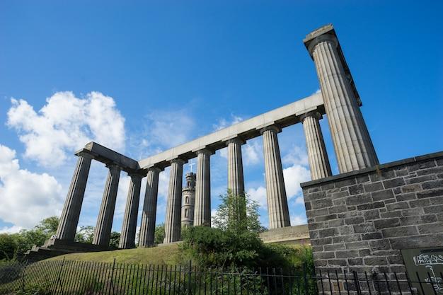 Nelson's monument & the national monument, edynburg, wielka brytania