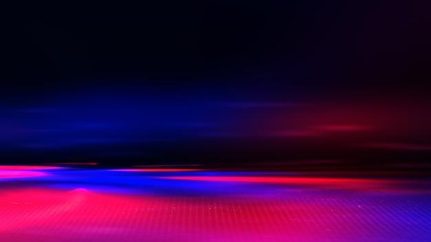 Neon abstrakcyjne promienie świetlne na ciemnym tle. efekt świetlny, pokaz laserowy, odbicie powierzchniowe. promieniowanie ultrafioletowe, klub nocny.