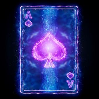 Neon karty do gry w pokera ace spade na czarnym tle izolować. szablon projektu. koncepcja kasyna, hazard, nagłówek witryny. skopiuj miejsce, ilustracja 3d, renderowania 3d.