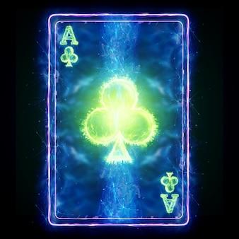 Neon karty do gry w pokera izolowanie ace club na czarnym tle. szablon projektu. koncepcja kasyna, hazard, nagłówek witryny. skopiuj miejsce, ilustracja 3d, renderowania 3d.