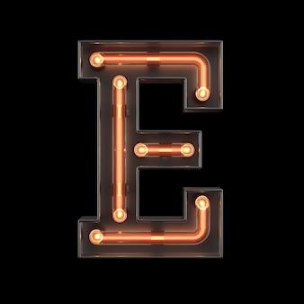 Neon light alfabet e