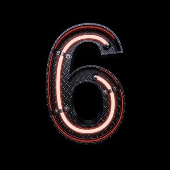 Neon light letter 6 z czerwonymi neonami.