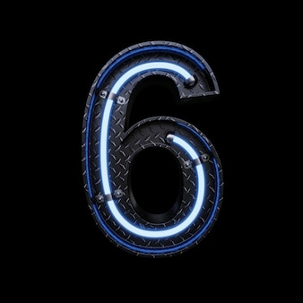 Neon light letter 6 z niebieskimi neonami.