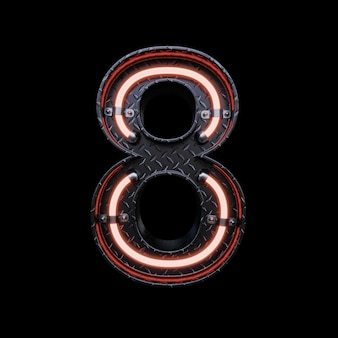 Neon light letter 8 z czerwonymi neonami.