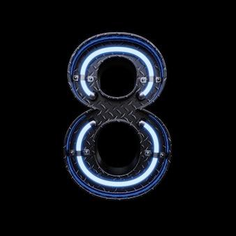 Neon light letter 8 z niebieskimi neonami.