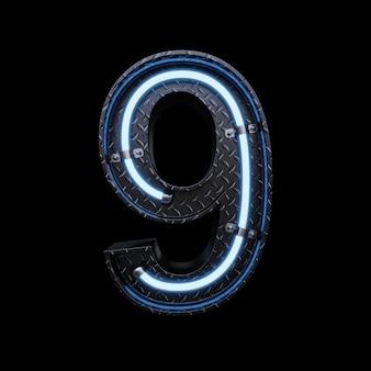 Neon light letter 9 z niebieskimi neonami.