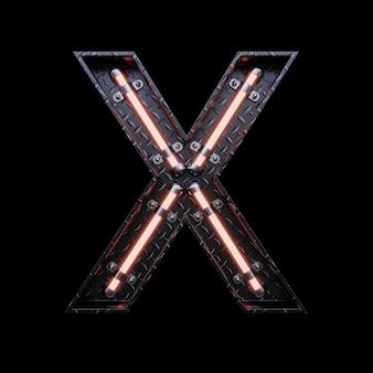 Neon light letter x z czerwonymi neonami.