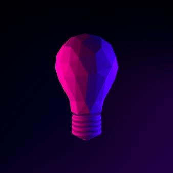Neon low poly żarówka ikona. element interfejsu ui ux renderowania 3d. ciemny świecący symbol.