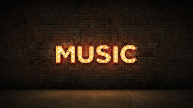Neon na ścianie z cegły w tle muzyka 3d renderowanie