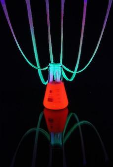 Neon paint experiment erlenmeyer