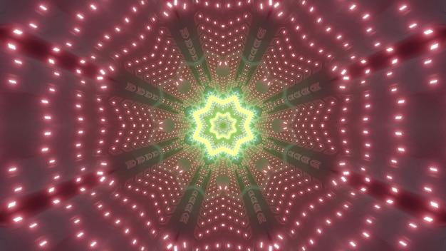 Neon świecący żółty wzór tworzący abstrakcyjne tło z ilustracją 3d tunelu sci fi