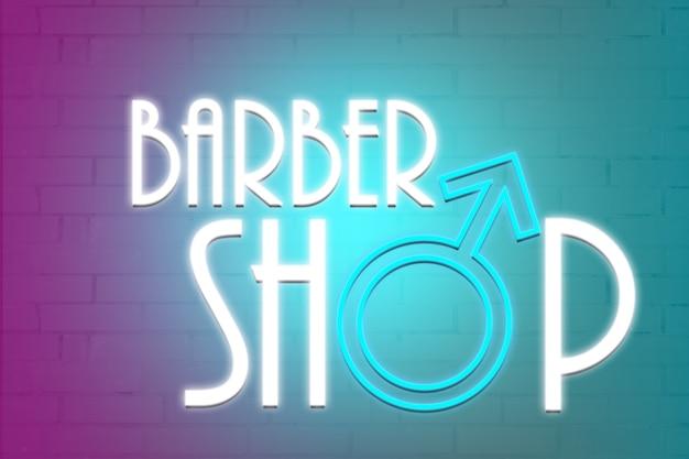 Neon z napisem barber shop