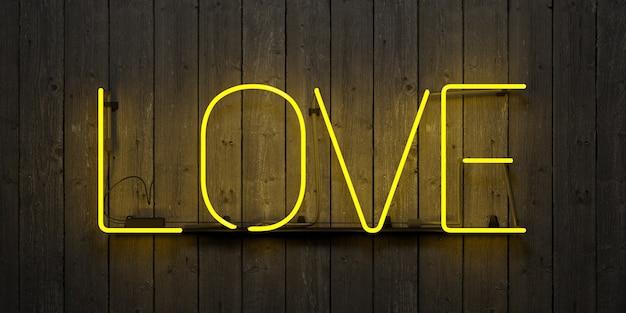 """Neon z napisem """"love"""" z żółtym światłem na szarej drewnianej ścianie. renderowania 3d"""