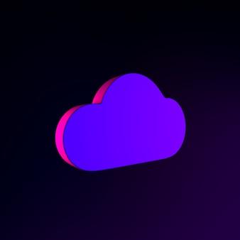 Neonowa ikona płaskiej chmury. element interfejsu ui ux renderowania 3d. ciemny świecący symbol.
