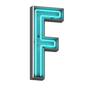 Neonowa litera f na białym tle