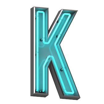 Neonowa litera k na białym tle