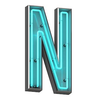 Neonowa litera n na białym tle