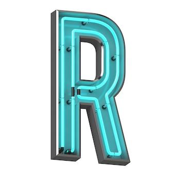 Neonowa litera r na białym tle