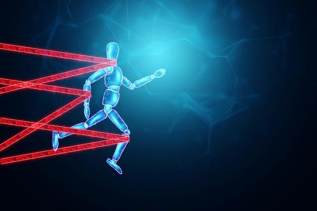 Neonowa marionetka przewiązana na nogach i rękach walczy i stawia opór. trudność biznesowa lub walka z koncepcją przeszkód w karierze, biurokracją, ilustracja 3d, renderowanie 3d.