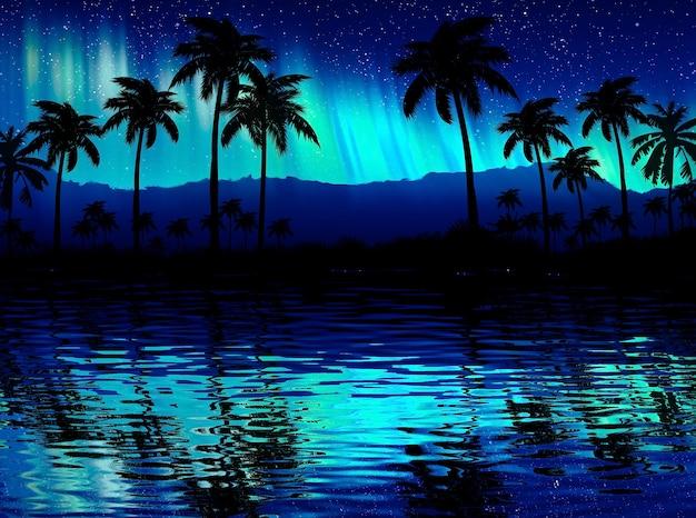 Neonowa palma, tropikalne liście. odbicie światła neonu w wodzie