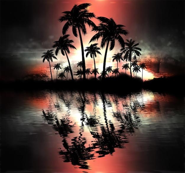 Neonowa palma, tropikalne liście.