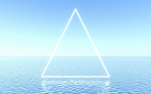 Neonowa ramka na wodzie, scena studio do prezentacji produktu lub tekstu. renderowanie 3d