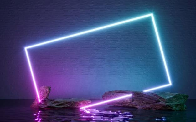 Neonowa ramka w kształcie skały i odbicie w wodzie. renderowanie 3d