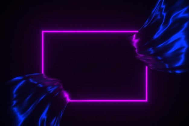 Neonowa rozjarzona rama na bieżącej jedwabniczej tła 3d ilustraci