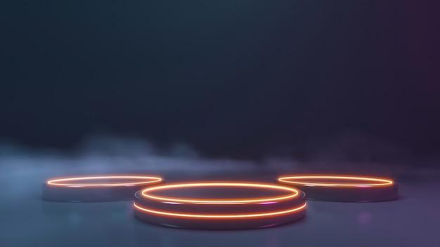 Neonowa scena ze ścianą dymu. renderowanie 3d
