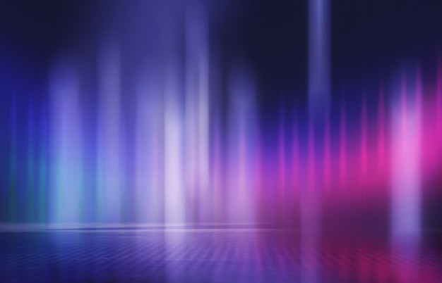 Neonowe abstrakcyjne promienie świetlne na ciemnym tle efekt świetlny lasera pokazuje odbicie powierzchni
