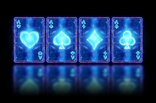 Neonowe karty do gry w pokera, cztery asy na ciemnym tle. szablon projektu. koncepcja kasyna, hazard, nagłówek witryny. skopiuj miejsce, ilustracja 3d, renderowania 3d.