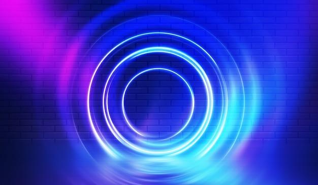Neonowe kształty na ciemnej ścianie z cegły. oświetlenie ultrafioletowe. mur z cegły, podłoga betonowa. ilustracja 3d