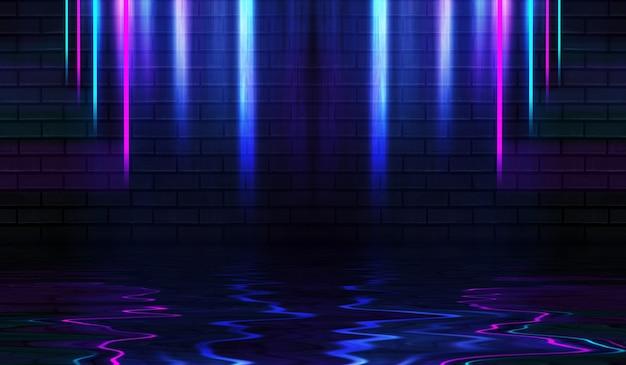 Neonowe kształty na ciemnej ścianie z cegły oświetlenie ultrafioletowe odbicie światła neonowego na ścianie z cegły brick