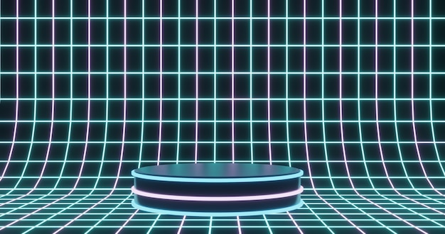 Neonowe podium na tle powierzchni cyfrowej szkieletowej