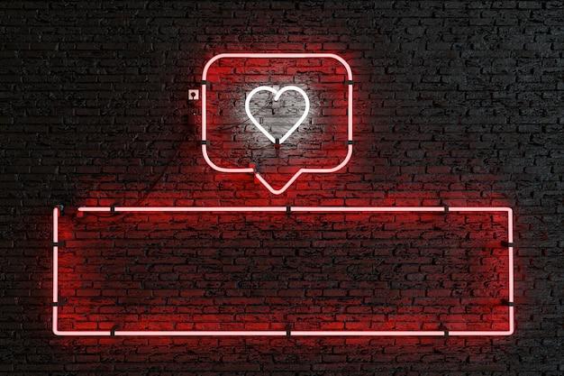 Neonowe pudełko powiadomień z sercem i pustym prostokątem do prezentacji obserwujących lub polubień