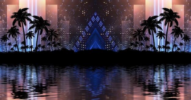 Neonowe światła z palmami i odbiciem w tle wody