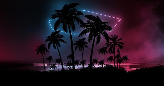 Neonowe światła z palmami w tle