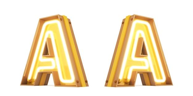 Neonowe światło cyfrowego abecadła 3d rendering na białym tle z ścinek ścieżkami