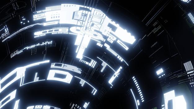 Neonowe światło na suficie science fiction. renderowania 3d.