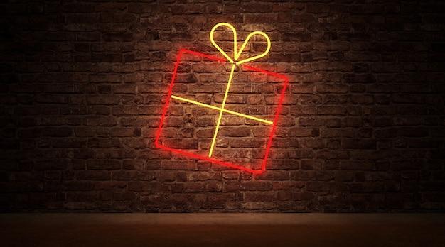 Neonowe światło symbolu pudełka na prezent na ścianie z cegły