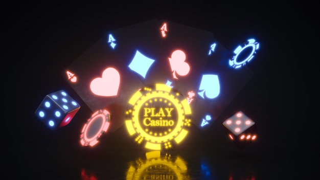 Neonowe tło kasyna ze spadającymi żetonami do pokera premium zdjęcia.
