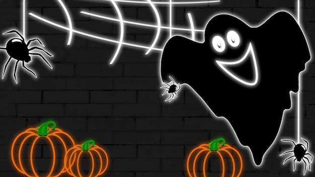 Neonowe tło na halloween, z duchem i pająkami