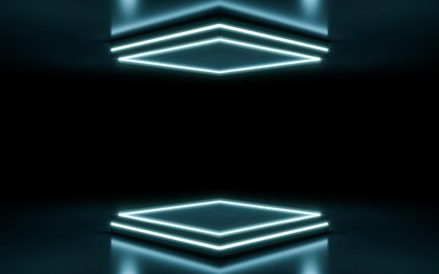 Neonowe tło sceny. renderowanie 3d