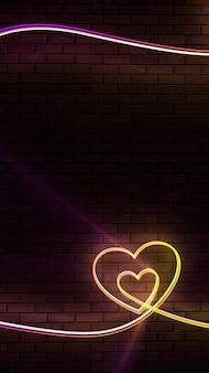Neonowe tło, serce, cegły, klub, poświata, miłość, walentynki