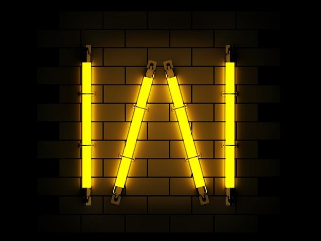 Neonowego światła abecadła 3d rendering na ceglanym tle z ścinek ścieżką