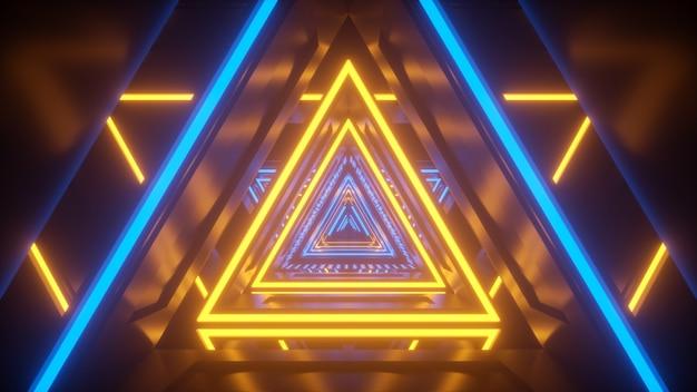 Neonowo żółte światło i niebieski tech tunel scifi tech futurystyczny kalidor z odbiciami