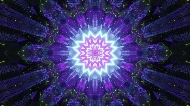 Neonowy abstrakcyjny tunel z jasnym świecącym tłem w świecącym w ciemności